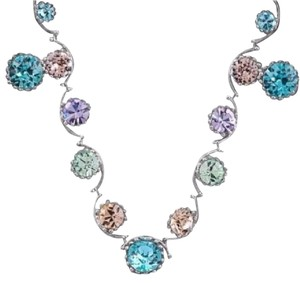 Other DF100 Swarovski Pastel Round Crystal Silver Handmade Necklace & Earring Set