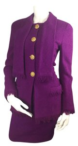 Chanel Jacket Blazer Vibrant Violet /Purple Wool Down Skirt Suit French 36