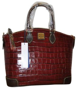 Dooney & Bourke & Croc Embossed Leather Trim Strap Satchel in Bordeaux