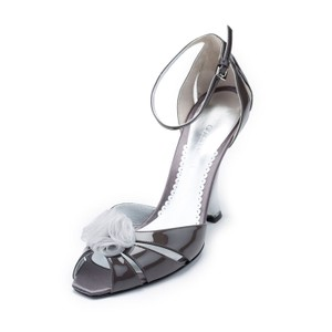 Giorgio Armani Patent Leather Genuine Office Pumps Silver Wedges
