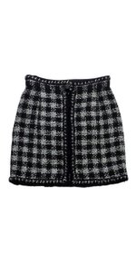 Chanel Black Silver Metallic Tweed Skirt