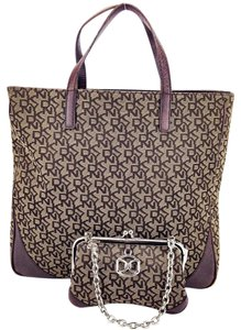 DKNY Clutch Satchel Kiss Lock Frame Canvas Tote in Brown and Tan