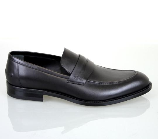 Gucci New Mens Leather Loafer Script Logo 257824 Black Boots