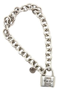 Tiffany & Co. #10751 RARE Lock Charm Bracelet Sterling Silver 925 Bangle chain
