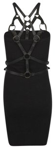 AllSaints short dress Black Leather 100% Cotton on Tradesy