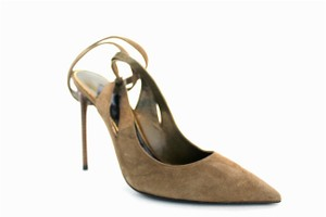 Tom Ford Padlock Ankle Wrap Suede Taupe Pumps