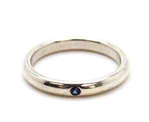 Tiffany & Co. #10760 blue sapphire stone 925 sterling silver band ring wedding