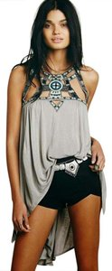 Free People Beaded Tunic Embroidered Embellished Top Gray