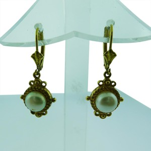 Other FINE ESTATE 14K YELLOW GOLD ORNATE PEARL EARRINGS