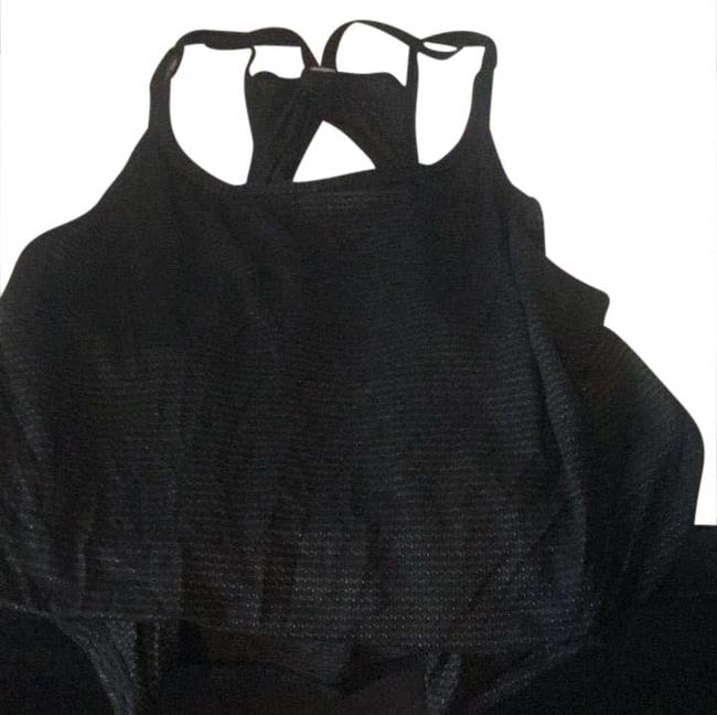 Item - Black and Gold Cropped Singlet Racerback Activewear Top Size 2 (XS)