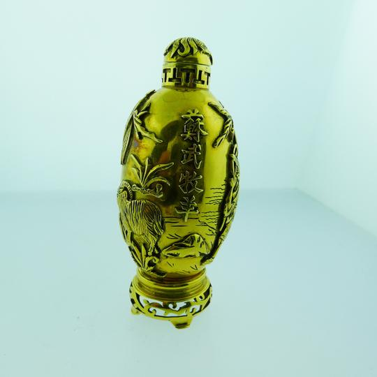 Other Rare Vintage 18k Yellow Gold Chinese Perfume Snuff Bottle 129.4 Grams