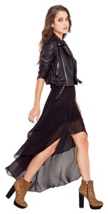 Nasty Gal Highlow Chiffon Tiered Edgy Skirt black