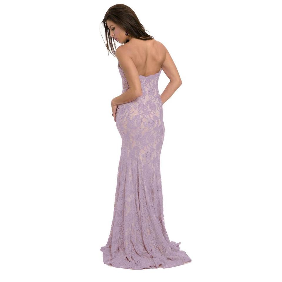 Jovani Lilac Lace Nude Look Strapless Prom Gown 99975 Long Formal ...