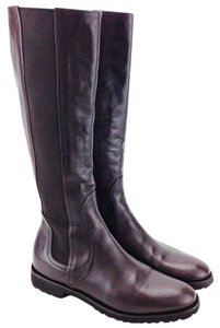 Max Mara Riding Flat Leather Elastic Knee High Brown Boots