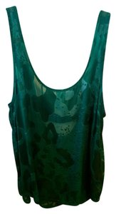 Patterson J. Kincaid Sheer Cut-out Scoop Back Textured Top Green