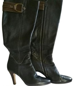 Cole Haan Black Leather with Brown Accent Strap and Brushed Gold tone hardware Boots