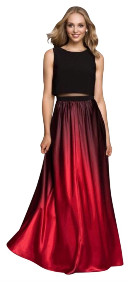 Black Red Illusion 2 Pc. Ombré Gown Long Formal Dress Size 4 (S ...