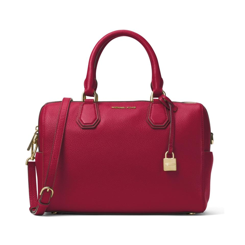MICHAEL Michael Kors Mercer Medium Duffle Cherry Leather Satchel ... aa0bc6b13aa3c
