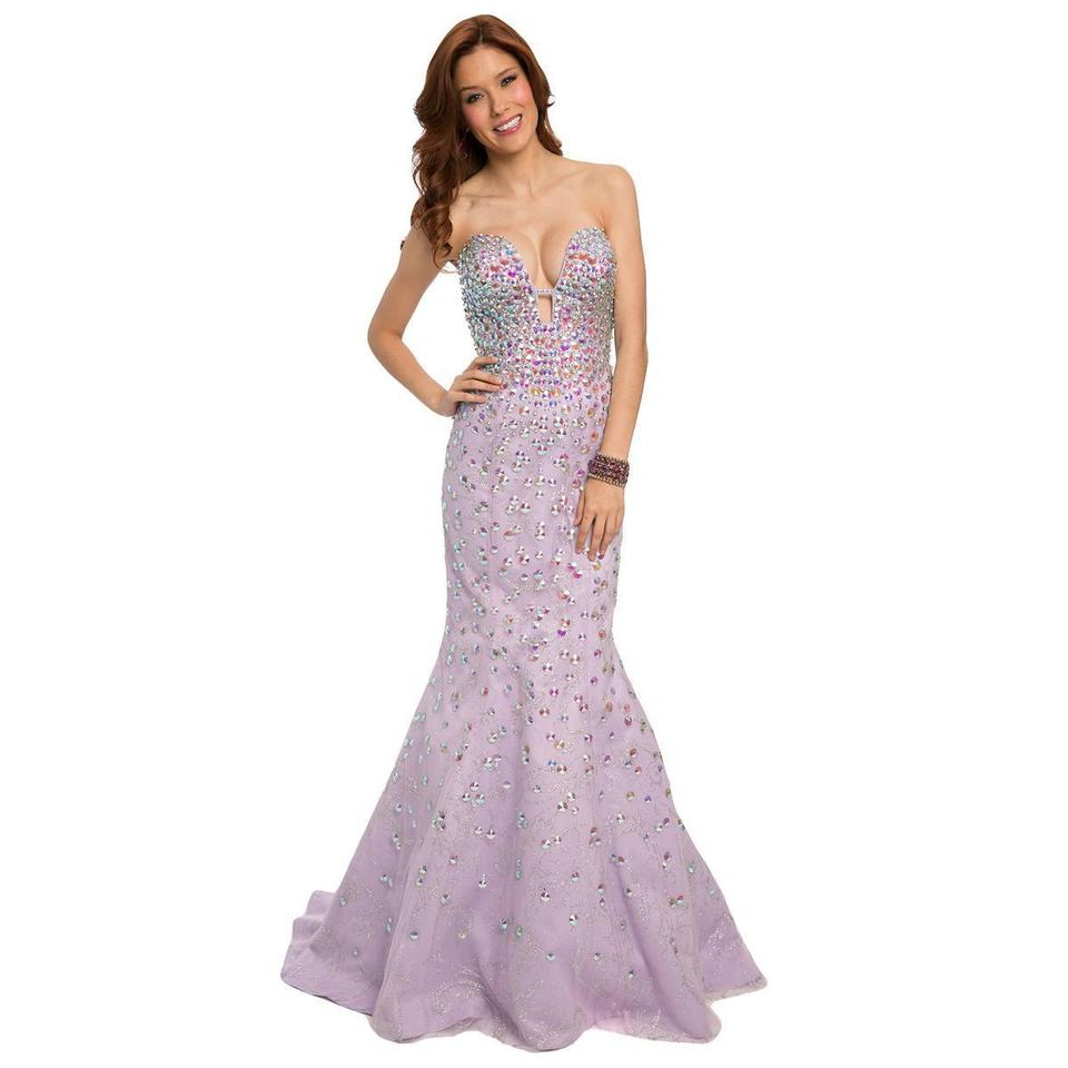 Jovani Lilac Tulle Mermaid Strapless Prom Gown 23840 Long Formal ...