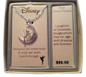 Disney Disney Tinker Bell Rhinestone Moon Necklace One Size Silver tone