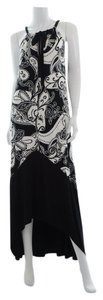 Black/White Maxi Dress by Joyous & Free Hi Low Maxi Floral Pleating Spring