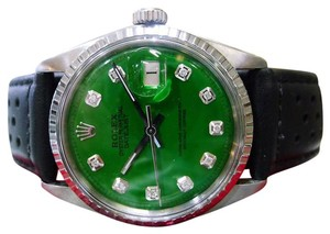 Rolex Mens Vintage Oyster Perpetual Datejust Steel Green Diamond Dial Watch