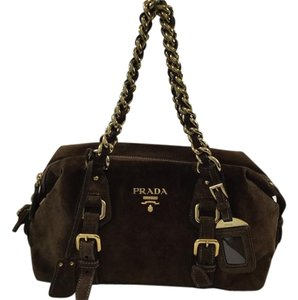 Prada Suede Chain Br3668 Satchel in Brown