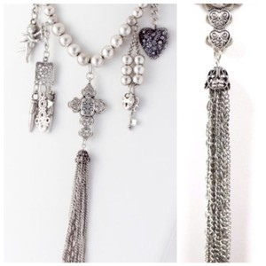 Other D4 Silver Textured Bead Cross Charm Long Fringe Statement Necklace Earrings