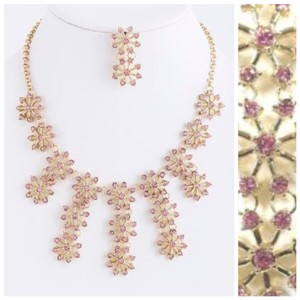 Other D4 Flower Crystal Dangle Pink Necklace Earrings Handmade $220