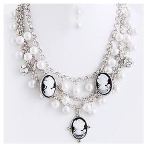 Other D4 Cameo Silver White Black Layered Pearl Crystal Necklace Earring Boutique