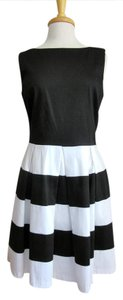 Tiana B. short dress Black & White Cotton Stripes Tank Scoop Neck Knee Length on Tradesy