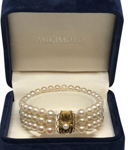 Mikimoto MAGNIFICENT MIKIMOTO 3 STRAND AKOYA 6.5-6.8 PEARL 18 KT GOLD BRACELET WITH ORIGINAL BOX M-8
