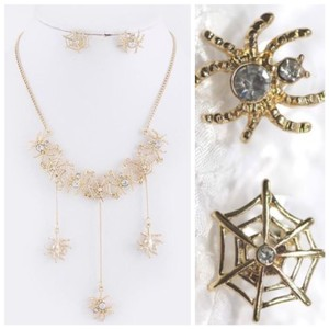 Other D4 Dangling Spider & Web Gold Color Crystal Necklace Earring Set Boutique