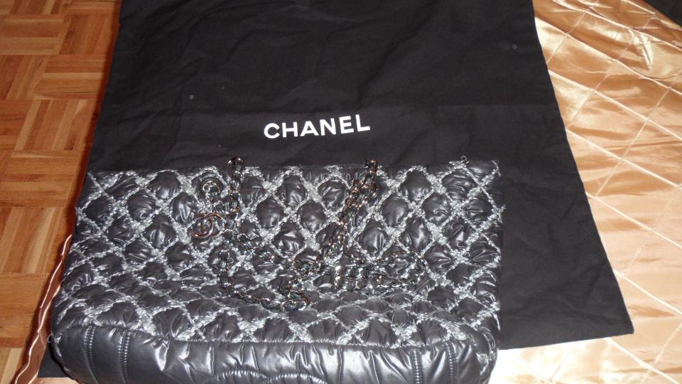5caefb98a72a Chanel Authentic-chanel-quilted-nylon-tweed-puffer-shopper-tote-silver-chain  Black Nylon Shoulder Bag - Tradesy