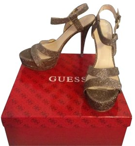 Guess Sparkle Gold Platforms