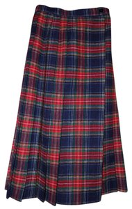 Chequers Pleated Wool Vintage Skirt Plaid, Red, Green, Black
