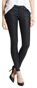 AG Adriano Goldschmied Coated Faux Leather Black Skinny Jeans-Coated