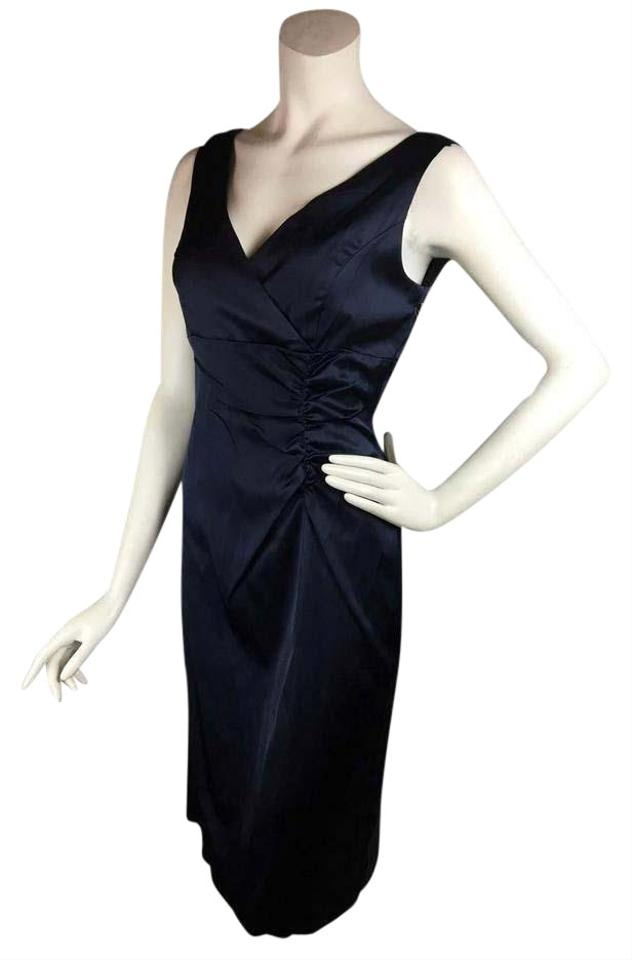 32e774184b Donna Ricco Navy Satin Mid-length Cocktail Dress Size 6 (S) - Tradesy