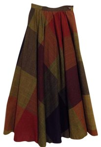 Nordstrom Vintage Circle Red Skirt Plaid, Red, Rust, Brown, Blue