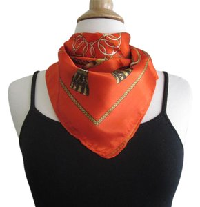 Other Red Silk Square Scarf Twill Floral Geometric Print Neckerchief Tie