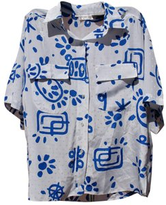 Stuart Lang Bright Bold Print Vintage Retro Button Down Shirt White & Blue