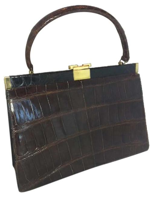 Item - Top Handle Bag Vintage 1950 Brown Alligator Satchel