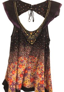 Free People short dress Multicolor Floral Chiffon Beaded Embellished Cut-out on Tradesy