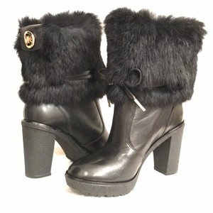 Michael Kors New/nwt Mk . Leather Fur Ankle Black Boots