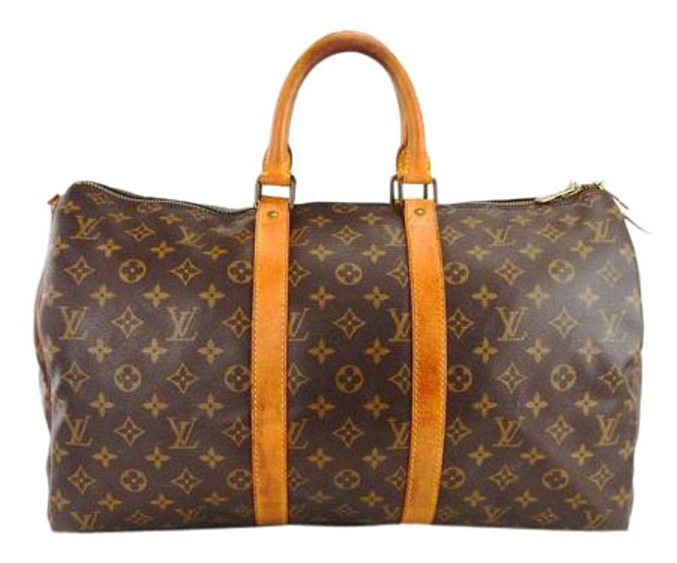 louis vuitton keepall 45 monogram canvas leather duffle travel boston brown travel bag weekend. Black Bedroom Furniture Sets. Home Design Ideas