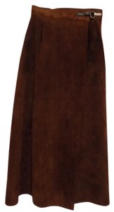 Genevieve LeFebvre Suede Leather A Line Chocolate Silver Dragon Clasp Skirt Chocolate Brown