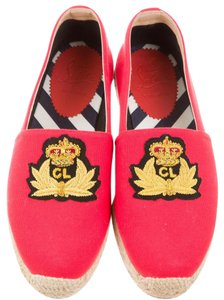 Christian Louboutin Embroidered Monogram Embellished Espadrille Papi Hugo Red, Beige Flats
