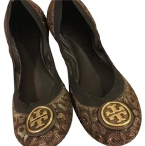 Tory Burch Leopard Bronze Gold Metallic Flats