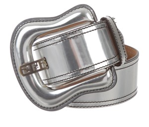 Fendi Silver-tone metallic leather Fendi oversize waist belt