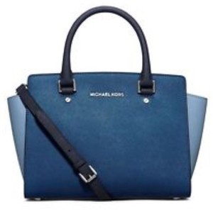 Michael Kors Designer Saffiano Leather Silver-tone Hardware Satchel in Sky/Navy